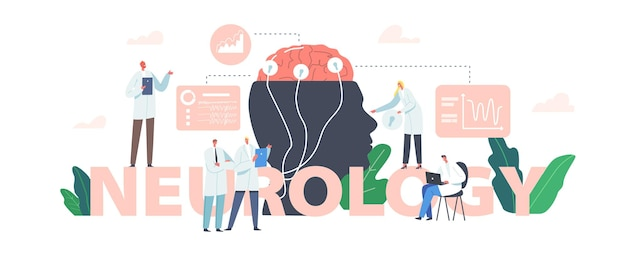Neurologie concept. dokter neuroloog, neurowetenschapper, arts karakters bestuderen hersenen verbonden met display met eeg indicatie medische poster, banner of flyer. cartoon mensen vectorillustratie
