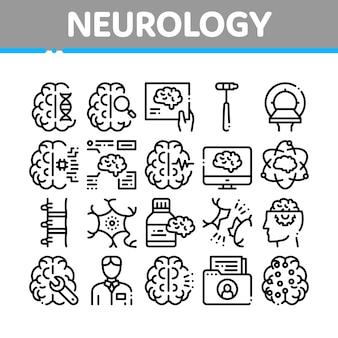 Neurologie geneeskunde collectie icons set