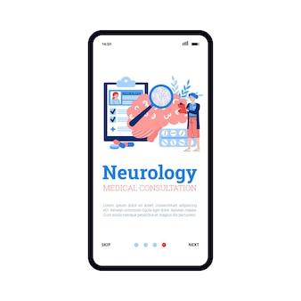 Neurologie medisch onderzoek onboarding scherm platte cartoon