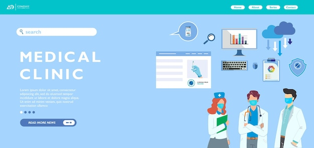 Neuroloog medische webbanner of bestemmingspagina ingesteld voor online consult