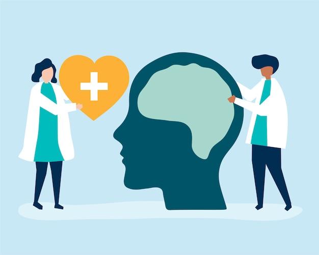 Neurowetenschappers met een gigantische grafiek van het menselijk brein