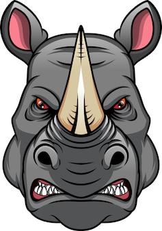 Neushoorn hoofd mascotte