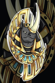 Neushoorn in god of egypt mythologie karakterontwerp