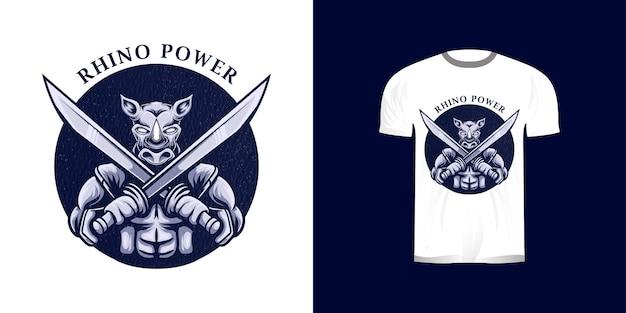 Neushoorn krijger illustratie voor t-shirt design