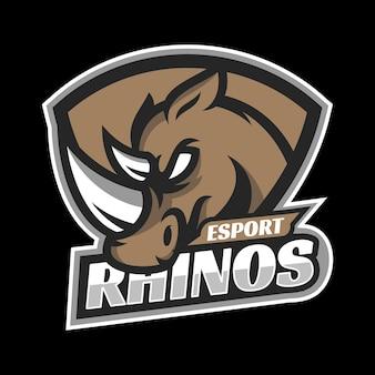 Neushoorn mascotte esport logo ontwerp