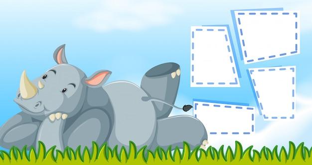 Neushoorn met een frame