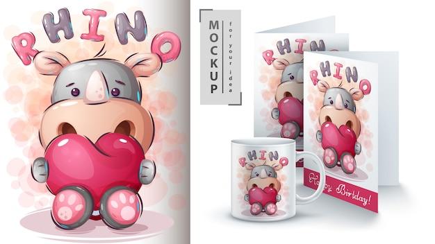 Neushoorn met hart poster en merchandising.