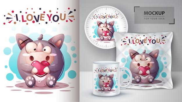 Neushoorn met visaffiche en merchandising