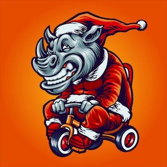 Neushoorn op kerstman kostuum rijden op een fiets illustratie