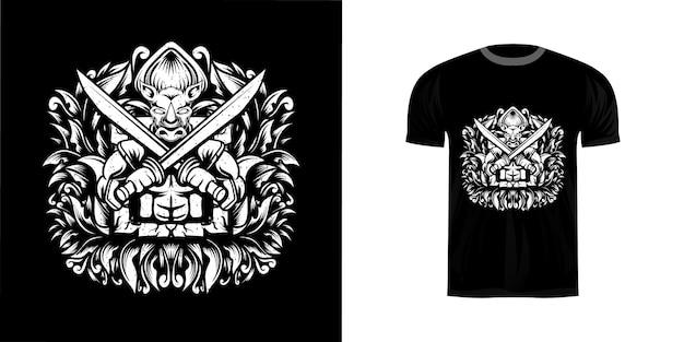Neushoorn warrio illustratie voor t-shirt design