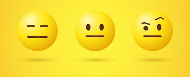 Neutraal emoji-gezicht met rechte mondogen en 3d-emoticon met opgetrokken wenkbrauw