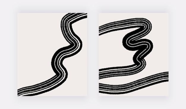 Neutrale abstracte kunst aan de muur met zwarte lijnen uit de vrije hand