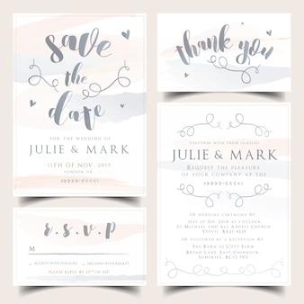 Neutrale aquarel bruiloft uitnodiging set