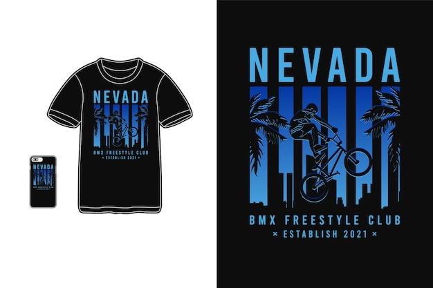 Nevada bmx freestyle club, t-shirt design silhouet retro stijl
