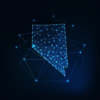 Nevada staat vs kaart gloeiende silhouet omtrek gemaakt van sterren lijnen stippen driehoeken, lage veelhoekige vormen. communicatie, internettechnologieën concept. wireframe futuristisch