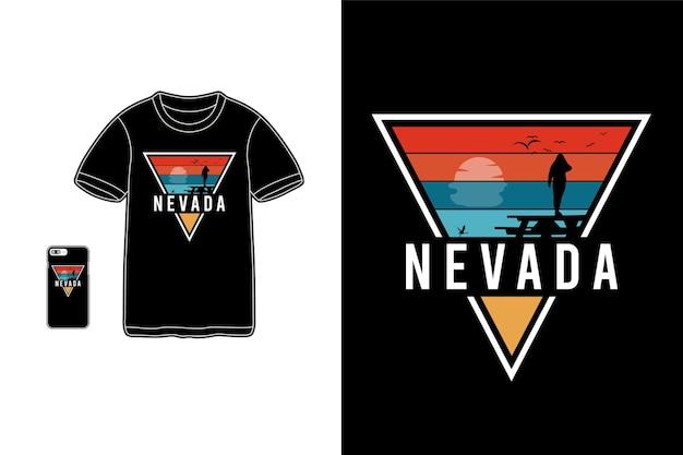 Nevada, t-shirt koopwaar silhouet mockup