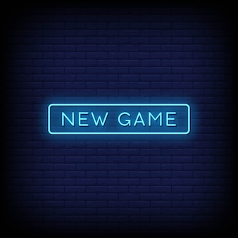 New game neon signs style text