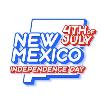 New mexico staat 4 juli onafhankelijkheidsdag met kaart en usa nationale kleur 3d-vorm van us