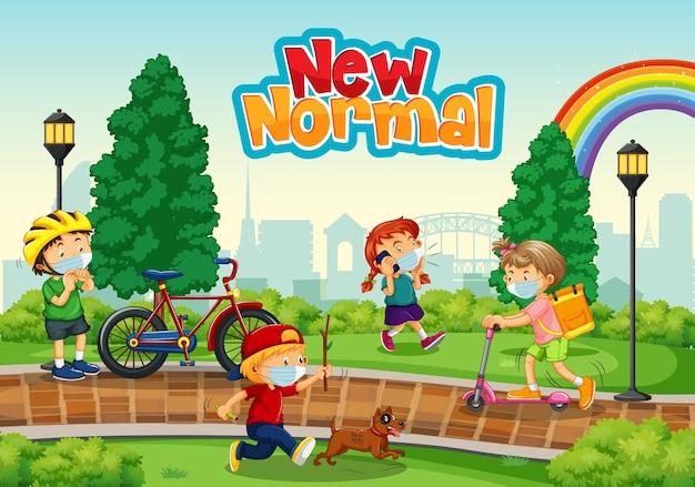 New normal met kinderen die een masker dragen in het park