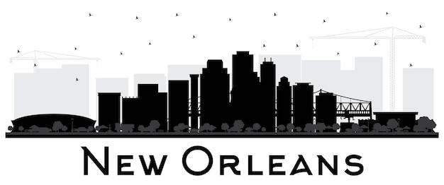 New orleans louisiana city skyline silhouet met zwarte gebouwen geïsoleerd op wit vector