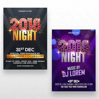 New year party flyer, banner of poster design in twee kleurenopties.