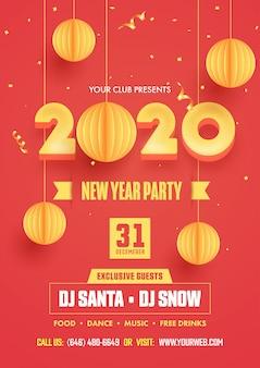 New year party flyer design met 3d-gele 2020-tekst en hangend papier gesneden kerstballen versierd op rode achtergrond.