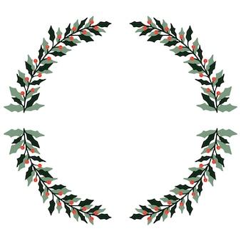New year's krans frame van takken. decoratie voor kerstmis.