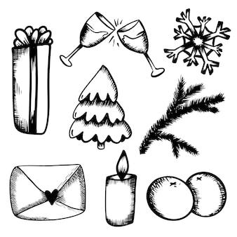 New years set doodles in handdraw stijl kerst glas champagne mandarijnen boom cadeau