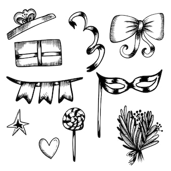 New years set doodles in handdraw stijl kerst lolly ster kerstboom boeket