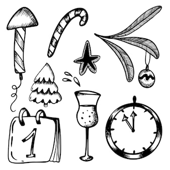 New years set doodles in handdraw stijl kerst raket vuurwerk lolly champagne