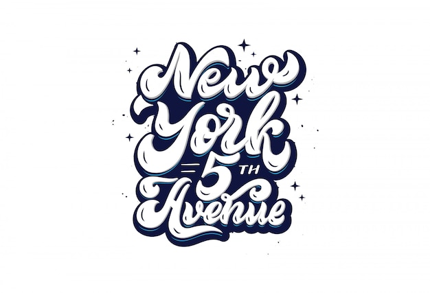 New york 5th avenue - hand getrokken belettering zin geïsoleerd