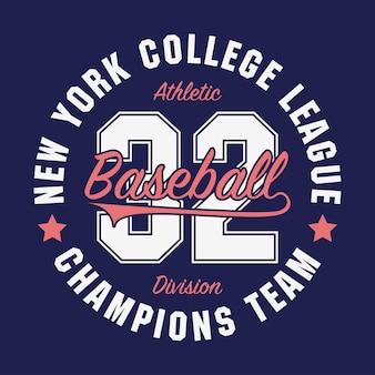 New york baseball typografie voor nummer tshirt originele sportkleding print atletische kleding
