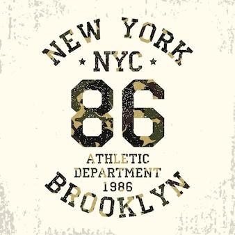 New york brooklyn camouflage grunge typografie voor design kleding atletische tshirt