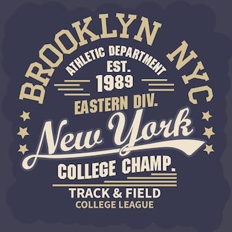 New york brooklyn sport draagt typografie embleem, t-shirt stempel graphics, tee print, atletische kleding ontwerp