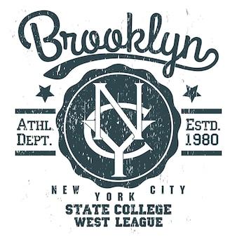 New york brooklyn sport slijtage typografie grunge embleem, t-shirt stempel graphics, tee print, atletische kleding ontwerp