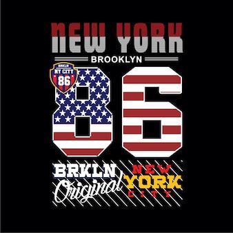 New york brooklyn typografie t-shirt vector