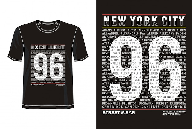 New york city 96 typografie voor print t-shirt
