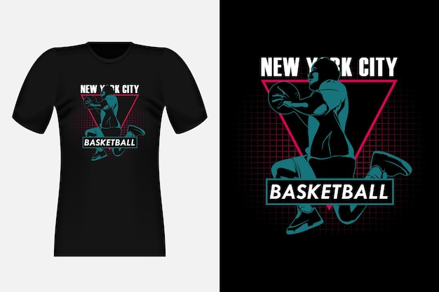 New york city basketbal silhouet vintage t-shirt ontwerp