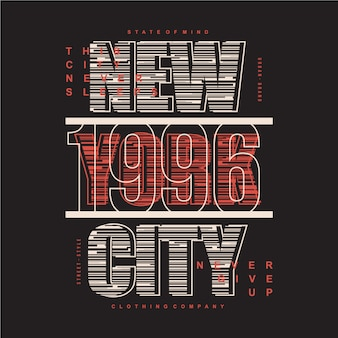 New york city gestreepte typografie vectorillustratie voor print t-shirt