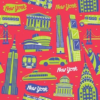 New york city naadloos patroon met oriëntatiepuntenelementen