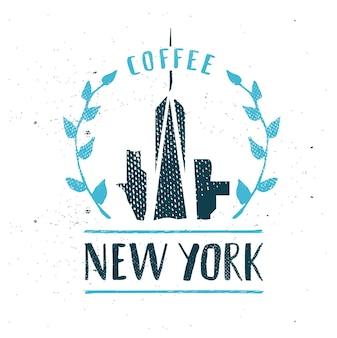 New york city sjabloon hand getekende kalligrafie pen borstel vector