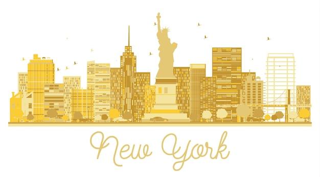 New york city skyline gouden silhouet. vector illustratie.