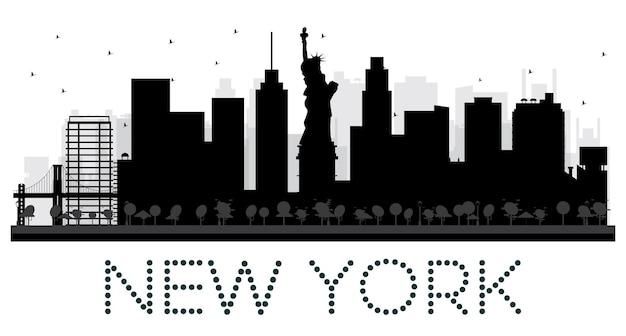 New york city skyline zwart-wit silhouet. vectorillustratie. eenvoudig plat concept voor toeristische presentatie, banner, plakkaat of website. stadsgezicht met bezienswaardigheden.