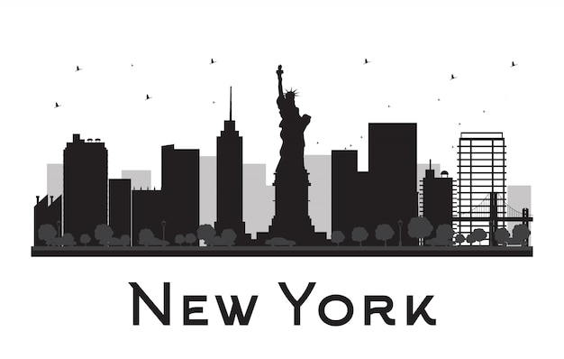 New york city skyline zwart-wit silhouet