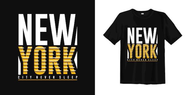 New york city slaapt nooit t-shirt met typografieprint