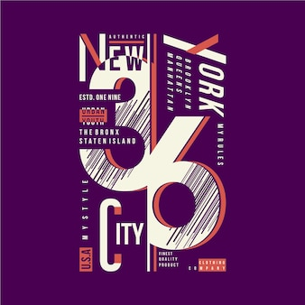 New york city tekst grafische typografie