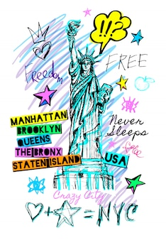 New york city vrijheidsbeeld, vrijheid, poster