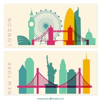 New york en londen banners
