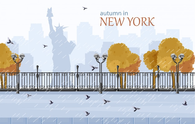 New york herfst vlakke stijl