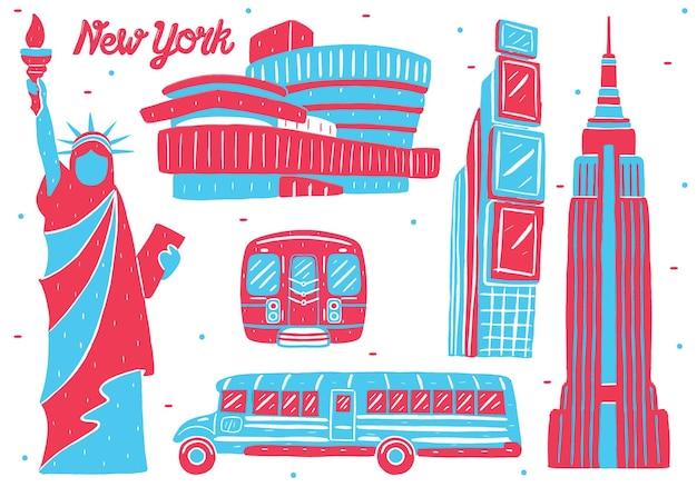 New york landmark in platte ontwerpstijl
